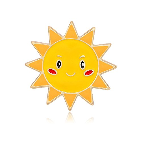 (MANZHEN Gold Sun Cloud Rainbow Enamel Brooch Lapel Pin Badge (Sun))