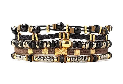 Chan Luu Black Mineral Stone Mix Multi Strand Goldtone Black Leather Pull Tie Bracelet ()