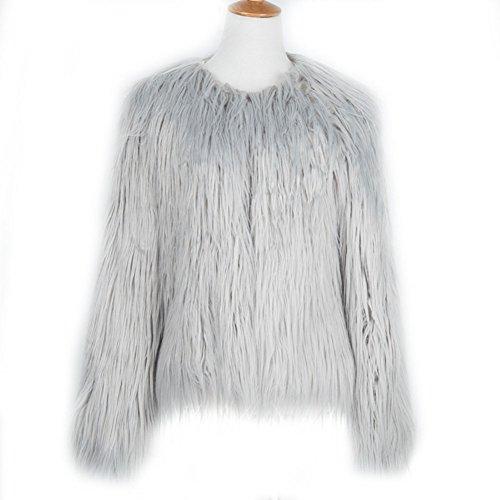 LLQ Abrigo para Mujer Invierno Piel Abrigo Mujer Caliente Chaqueta Piel Long Section Ropa Mujer Fur Coat Fur jacket Mujer Abrigo Pelo Invierno(Negro) Gris