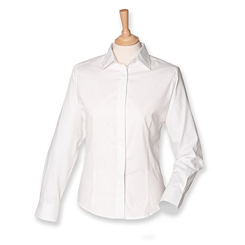 Henbury Ladies Long Sleeve Oxford Shirt M/12 White