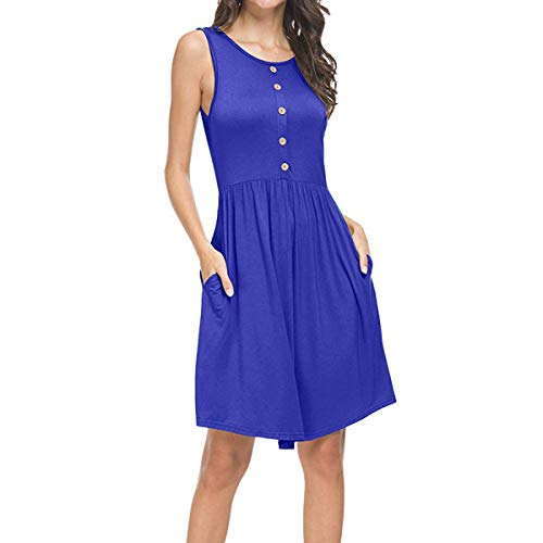 - Tank Top Dress, Ladies Sleeveless Empire Waist Round Neck Swing Tunic Button Short Petite Dresses for Women Teens Casual Loose Summer Boho Beach Party House (Blue, M/US Size 8-10)