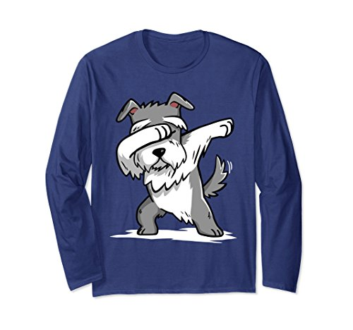 Dog Lover Long Sleeve (Unisex Funny Dabbing Schnauzer Long Sleeve Shirt Dog Lover Gift Medium Navy)