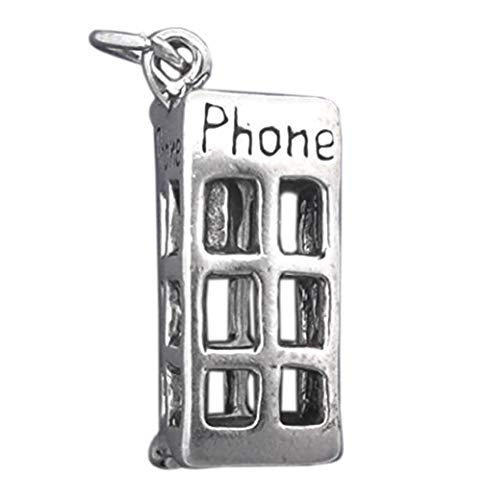 925 Sterling Silver 3-D Telephone Phone Booth Movable Charm Pendant Jewelry Making Supply, Pendant, Charms, Bracelet, DIY Crafting by Wholesale Charms