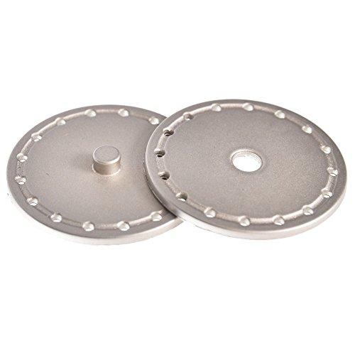Mibo Buttons Metalic Nylon Sew Through 28 mm/38 mm Snap Nickel/Gold 3 Pack Line 60 Matte -