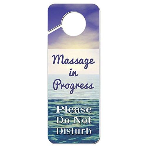 Massage in Progress Please Do Not Disturb Plastic Door Knob Hanger Warning Room Sign - Pastel Ocean Sunset