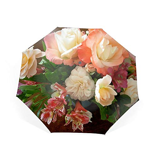 (Flower Roses Alstroemeria Bouquet Compact Travel Umbrella - Windproof,Auto)