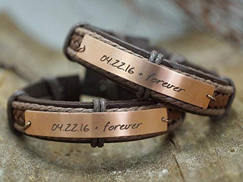 Anniversary Date Bracelets for Couple Leather, Friendship Matching Cuffs, Love Best Friend Forever, Copper Metal Woven brown Rope
