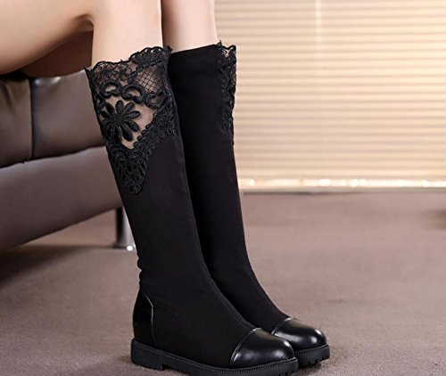 And Increase Fall Video Flat KHSKX End Fabric The A Version Korean Boots The In At Stretch Boots Of The Thin High Female Shoes Boots Of Long And The Black Boots 35 Single To Versatile YxUq8XUf