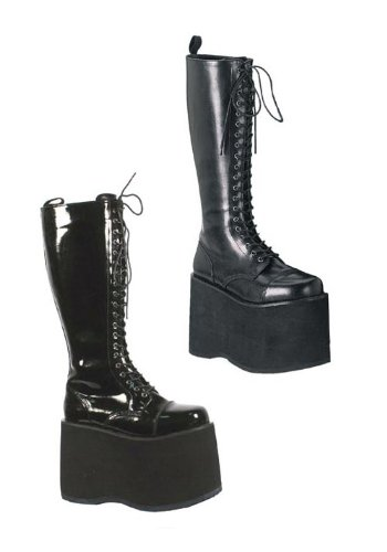 Demonia Pleaser Gothic Punk Unisex 5 3/4 inch Platform Lace up Knee Boot (Black Pu;5) -
