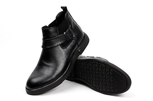 hombre motero Elegante Sin Cordones Chelsea Tobillo Retro Botas Informal Zapatos de trabajo Negro