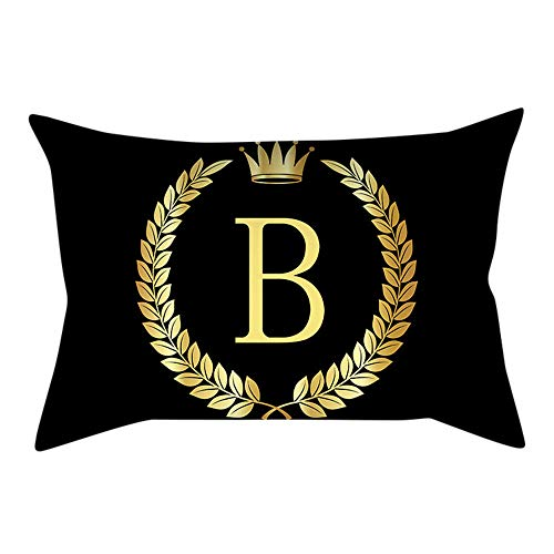 Euone  Pillow Covers, Letters Pillow Cover Black and Gold Pillowcase Sofa Cushion Cover Home Decor (B) -