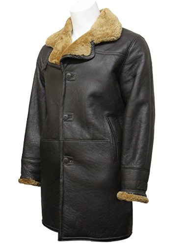 Brown Men's Warm Winter Real Shearling Sheepskin Leather ...