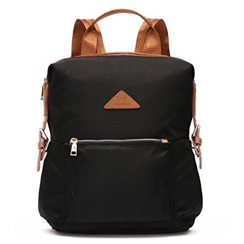 Stylish Casual Rucksack Shoulder Backpacks for Women Waterproof Nylon Hobo Satchel Black-side Straps