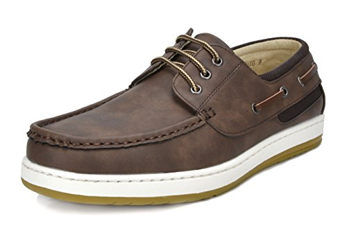 Bruno Marc Men's Pitts_16 Dark Brown/Dark Brown Loafers Moccasins Boat Shoes Size 07