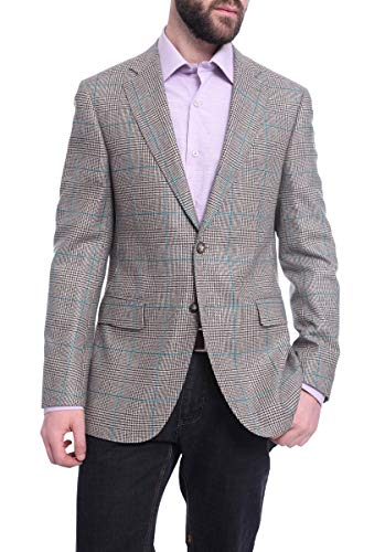 Napoli Slim Fit Tan Glen Plaid Half Canvassed Zegna Wool Cashmere Blazer