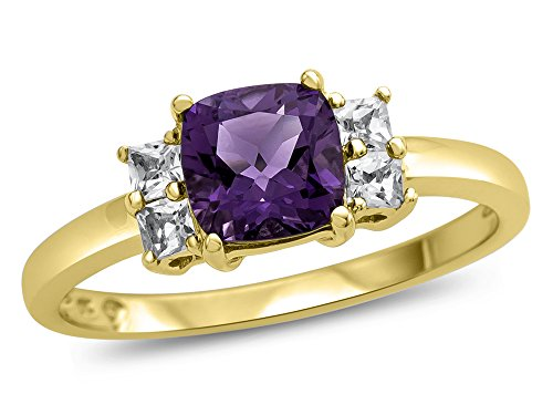Finejewelers 6x6mm Cushion Amethyst and White Topaz Ring 10 kt Yellow Gold Size 8.5 ()