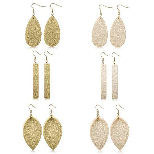 Adramata Dangle Leather Earrings for Women Teardrop Leaf Earrings statement -