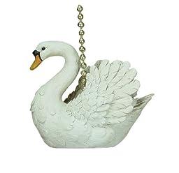 White Mute Swan Ceiling Fan Pull Chain