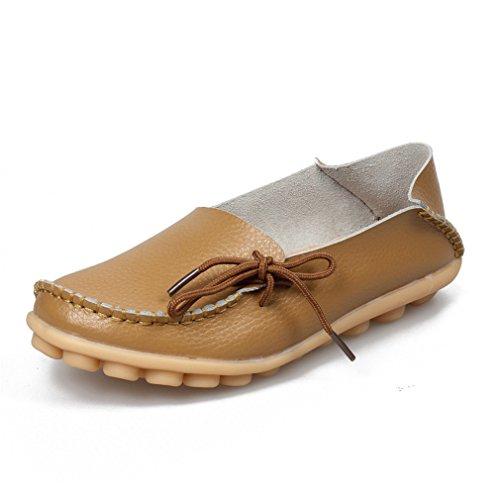 de la Zapatos Calzado de 8 de femenina Mocasines Leisure conducción Mocasines mujeres cuero madre Khaki ocasionales Ballet las Flats Soft de UPvfq