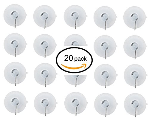 20 Pack Clear Plastic Small Suction Cup with Removable Hook (7/8