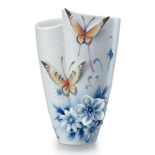 Franz Forever Wedding Collection Butterfly Sculptured Porcelain - Collection Porcelain Vase