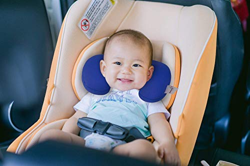 Baby Neck Pillow, Newborn Head and Neck Support Pillow for Seat Car Travel, Recommended For Babies 0-6 Months. (Blue) ()