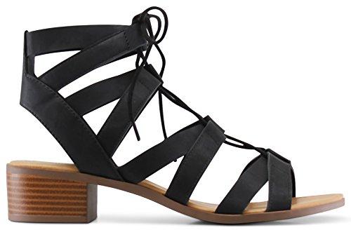 MARCOREPUBLIC Zurich Open Toe Gladiator Chunky Block Stacked Heels Sandals - (Black) - 10 by MARCOREPUBLIC