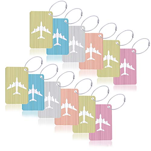 12Pcs Creatiee High-end Metal Brushed Luggage Tags, Aluminum Airplane Pattern Luggage Tags with Stainless Steel for Luggage Bag Identifier/Travel Accessories (Mixed Colors) ()
