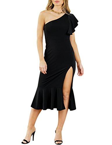 うんダイバーレザーLiebeye ワンピース 女性 セクシー ノースリーブ 袖なし スプリット ドレス エレガント 純色 無地 ストラップレス スカート 夏 ブラック