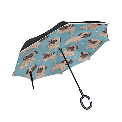 Puppy Dog Sweet Pet Fashion Decor Double Layer Folding Anti Uv Protection Waterproof Windproof Straight Cars Golf Reverse Inverted Umbrella Stand With C-shaped Handle For Car Rain Outdoor ()