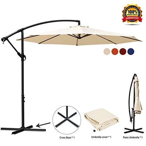 JEAREY Patio Umbrella 10 Ft Offset Cantilever Umbrella Outdoor Market Hanging Umbrellas & Crank with Cross Base, 8 Ribs(Beige)
