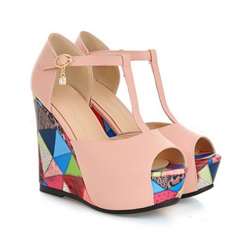 Thick Color Girls T Soft Material Matching Bottom Heel Sandals 1TO9 Strap Pink 4t6UqWHn4