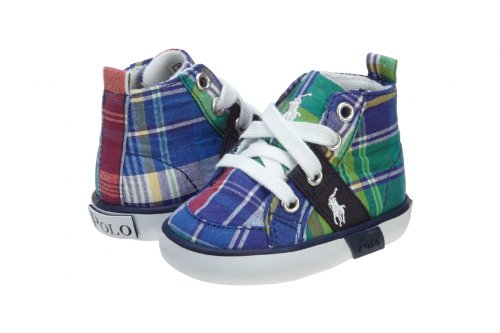 Ralph Lauren Layette Infant Harold Hi Sneaker,Blue Madress Plaid,0 M US - Kids Ralph Lauren Discount