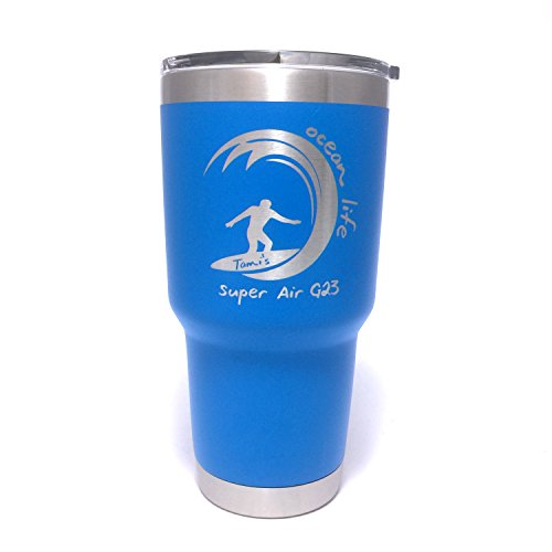 YETI Rambler Ocean Life Design w/Custom Name Design Laser Bonded Yeti Rambler Stainless Steel Travel Mug - NOT A STICKER! by DoGood Designs