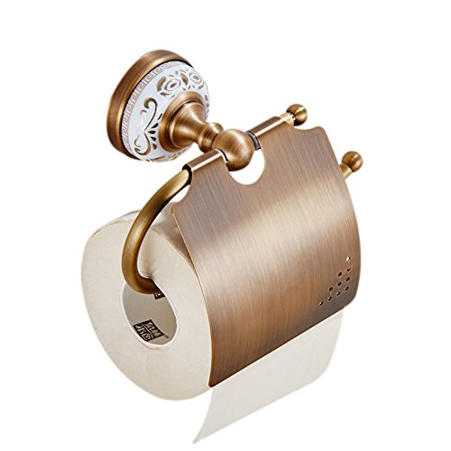 (WINCASE European Antique Bronze Brushed Brass Gold-Plated Toilet Paper Holder Golden Wall Mounted White Porcelain Metal Pendants Bathroom Hardware Pendant Antique White Porcelain Bathroom Accessories )