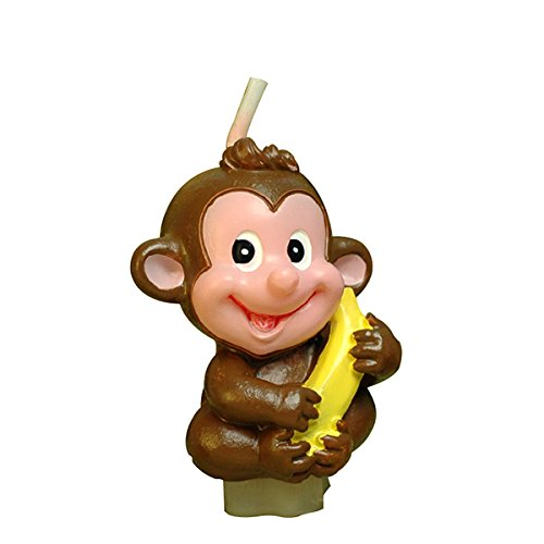 Mini Banana Monkey Birthday Candle Cake Topper Baby Shower Favors (In Gift Box) Attached with Gift Gard Sweet Homes & Gardens PC-08