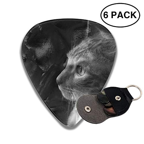 Colby Keats Guitar Picks Plectrums Cat Side View Classic Electric Celluloid Acoustic for Bass Mandolin Ukulele 6 Pack 3 Sizes .71mm