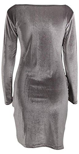 V Neck Cruiize Sexy Club Velvet Long Womens Sleeve Cross Gray Dress Deep nxnXqpIf