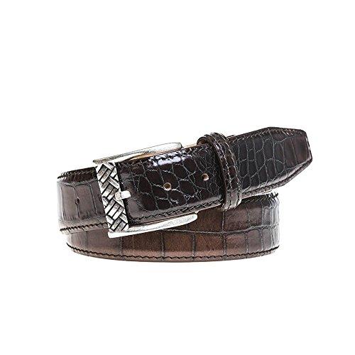 Chestnut Brown Vintage Sunset Mock Croc Belt by Roger Ximenez: Bespoke Maker of Fine Leather Goods
