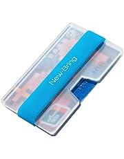 New-Bring Carteras Para Mujer y Caballero minimalista tarjeta de crédito - Bolsillo Frontal Ultralight acrílico Slim Wallet Clips para Billetes, Azul