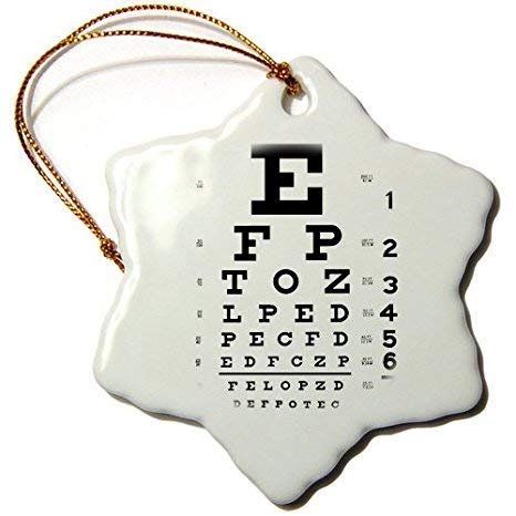 QMSING Eye Chart Alphabet in Black-Snowflake Ornament, 3-Inch, Porcelain BH415045