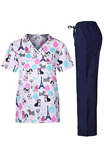MedPro Women's Printed Medical Scrub Set Mock Wrap Top and Pants White Pink S