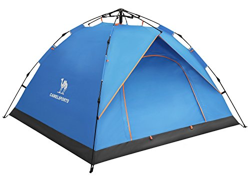 (Camel 2-3 Person Family Automatic Hydraulic Tent Instant Pop Up Tent Anti UV Windproof Portable Tents for Camping)