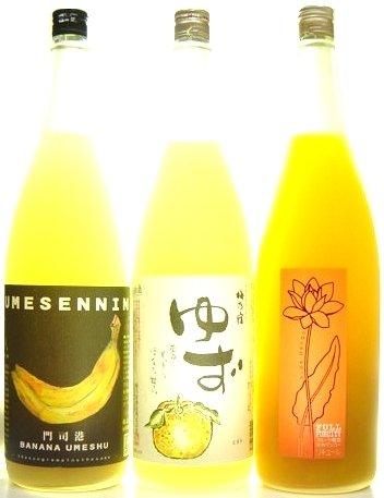 フルフル バナナ梅酒 B008XVGEPI 梅仙人 マンゴー梅酒 ゆず酒 1800ml×三種飲み比べセット 梅乃宿
