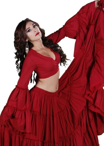 Belly Dance Tribal Bell-Sleeve Cotton Top | Bell Rompi 2 - Red - Medium/Large -  Miss Belly Dance, TP39RED-ML-CA