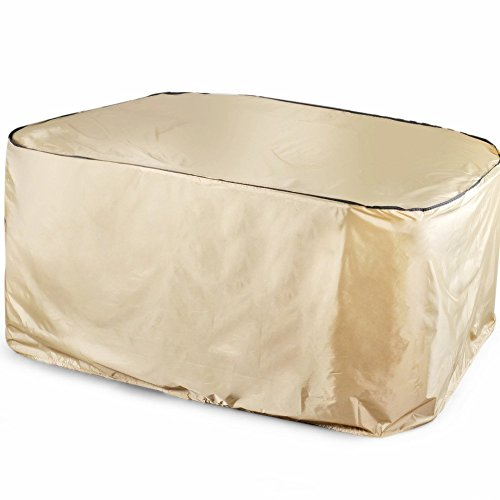 Abba Patio Outdoor/Porch Rectangular Table and Chair Set Cover, Water-repellent and Fire Resistant, All Weather Protection, Tan Color, Medium (Screened Patio Ideas Porch)