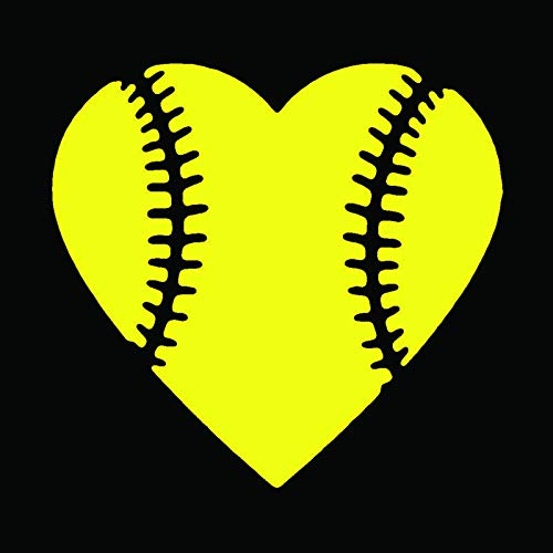 (KCD Heart Softball Love Vinyl Decal Sticker|Cars Trucks Vans Walls Laptops Cups|Yellow|5.5 in|KCD874Y)