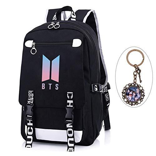 Youyouchard KPOP BTS Bangtan Boys BTS New Logo Backpack BTS Schoolbag BTS Large capacity Backpack with A Vintage Keychain Jimin Jung Kook JIN (Style 02)