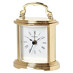 Seiko Desk and Table Alarm Carriage Clock Gold-Tone Metal Case, Model: QHE109GLH, Hand/Wrist Watch Store