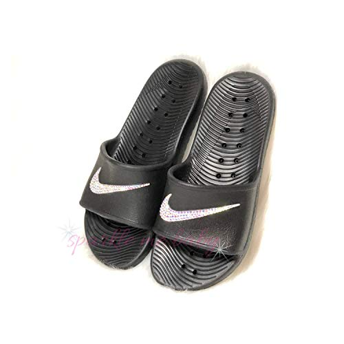 1fe0feed3b13 Swarovski Black Nike Kawa Slides for Women - Bling for the gym - Customized  by SparkleMeBaby2u